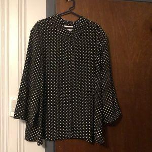 Susan Graver black with white dots shirt